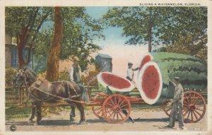 Slicing a watermelon , Florida , 1918