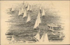 Newport RI Brenton's Point Yacht Race c1950 Postcard