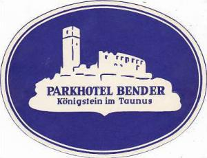 GERMANY KOENIGSTEIN PARKHOTEL BENDER VINATGE LUGGAGE LABEL