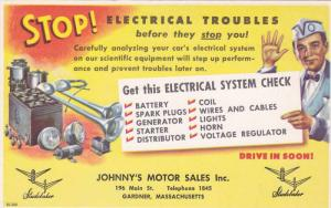 Electric Troubles , Johnny's Motor Sales Inc. , GARDNER , Massachusetts , 40-50s