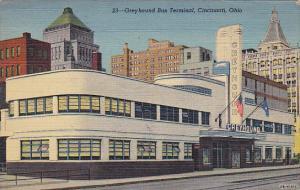 Greyhound Bus Terminal Cincinnati Ohio 1945 Curteich