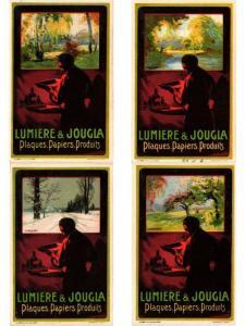 PUBLICITÉS ADVERTISING LUMIERE & JOUGLA PLAQUES PAPIERS 4 CPA