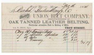 1874 Billhead, UNION BELT COMPANY, Fall River, Massachusetts