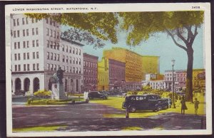 P1496 1942 used postcard washington street view watertown ny old cars etc