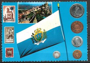 1972 San Marino, flag, stamps, coins, mailed to Germany