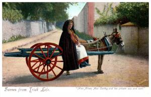 Irish Woman   Aileen Mac Carthy sitting in Donkey Cart
