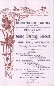 Hornchurch Essex Tennis Club 1906 Antique Theatre Programme