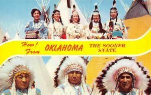 OKLAHOMA The Sooner State Native American Indians c1950s Vintage Postcard