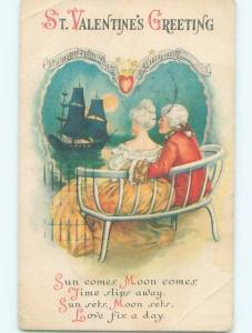 Pre-Linen valentine COLONIAL ERA COUPLE WATCHES SAILBOAT BOAT IN MOONLIGHT W7228