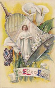 Ringing Bell, Choir girl in front of organ, shining light, flowers, butterfly...