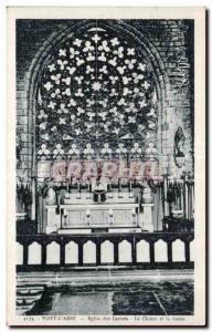 Old Postcard Pont L Abbe Church Carmelite Choir and rosette
