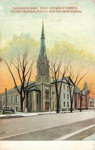 First Unitarian Church Oliver Grammar School Old High Lawrence MA DB VTG P137