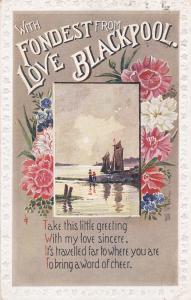 BLACKPOOL, England, PU-1920s; Fondest Love from Blackpool, poem, beach scene