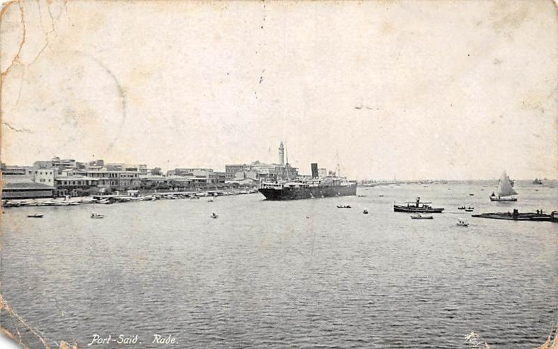 Egypt Port-Said Rade Ship Boats, Army Post Office, Fieldpost 1916