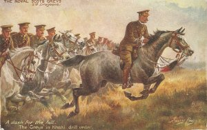 Hary Payne. The Royal Scots Greys. Das for the Hill. Horses Tuck Oilette PC #