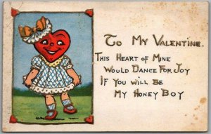 Vintage VALENTINE'S DAY Postcard This Heart of Mine Would Dance for Joy… 1911