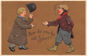 How Do You Do Old Sport? Tattered Boy Greet~Tip Hat~Cigarette~Embossed~Germany
