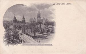 HARTFORD, Connecticut, 1900-1910s; Soldier's Monument Arch & Capitol