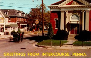 Pennsylvania Greetings From Intercourse Showing First National Bank & Gulf Ga...