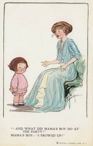 Grace DRAYTON-WIEDERSEIM, 1900-10s; Little boy tells Mama He 'frowed up at party
