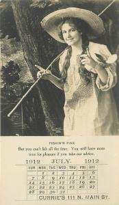 1912 Real Photo Trade Card Pretty Girl Fishing Advertising Fireless Cook Stove
