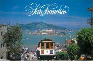 Postcard USA San francisco cable car street California Panoramic view island