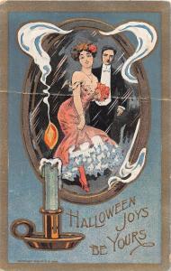 E22/ Halloween Holiday Postcard c1910 Man Woman Candle Mirror 25