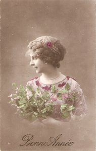 Pretty, sweet lady. Flower leaves Old vintage French New Year Greetings PC