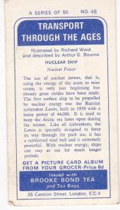 Trade Cards Brooke Bond Tea Transport Through The Ages No 48 Nuclear Ship