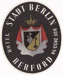 Germany Herford Hotel Stadt Berlin Vintage Luggage Label sk3202