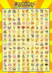 Pokemon Postcard, showing 150 Pokemon Characters (PC0152) 56V