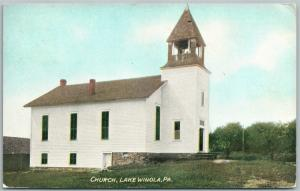 LAKE WINOLA PA CHURCH 1908 ANTIQUE POSTCARD
