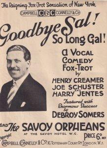 Debroy Somers Goodbye Sal Ballroom Fox Trot Olde Sheet Music