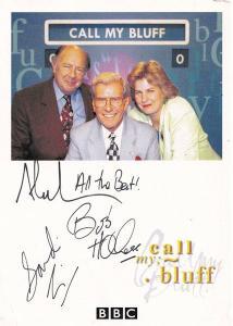 Call My Bluff Bob Holness Alan Coren Sandi Toksvig FULLY Hand Signed Photo