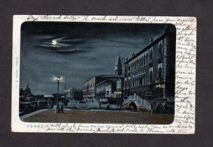 Italy Venice Venezia Moonlight view Vintage Italie Carte Postale Postcard Night