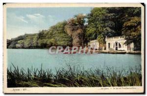 Old Postcard Lyon Park Lake and L & # 39embarcadere