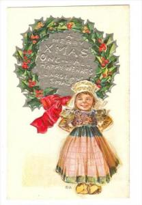 Christmas Greetings : Little Girl On A Dress,  A Merry Xmas One & All Happy H...