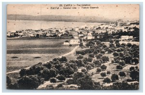 Caifa Haifa General Birds Eye View Postcard Palestine Jerusalem