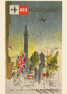 Fly To London By BOAC Plane Travel Flight Poster Advertising Postcard