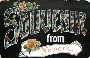 Newark~Victorian Lady Large Letter Souvenir~Art Nouveau~Roses on Black~1905