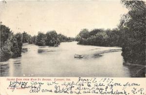 Elkhart Indiana~Island Park from Main Street Bridge~Little Boat in Water~1907 Pc