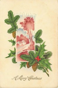 Christmas~Airbrushed Pink & White Countryside Vignette~Pine Cones~Emboss~Germany