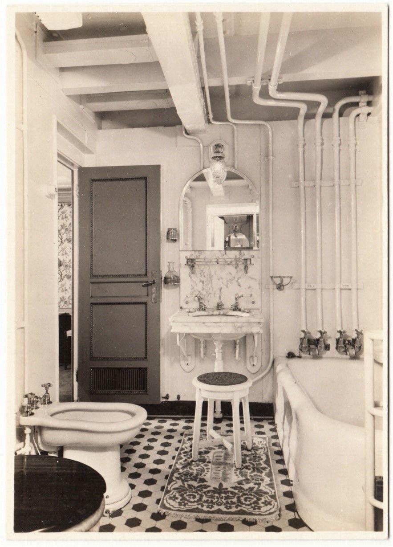 Holland America Line Ship Ss Statendam Bathroom Real Photo Postcard 1930s Hippostcard