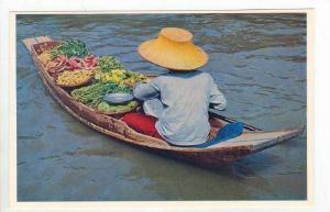 Thailand, 60-70s   Vegetable selling boat, Floating Market, Bangkok
