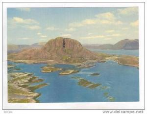 Norway, 50-60s, Torghatten, Nordland. Aerial View. Hole Through the Mountain.
