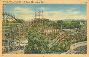 Cleveland Ohio Derby Racer Euclid Beach Park Tichnor linen Postcard 21-9731