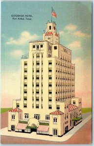 Port Arthur, Texas Postcard GOODHUE HOTEL Building View MWM Linen c1940s