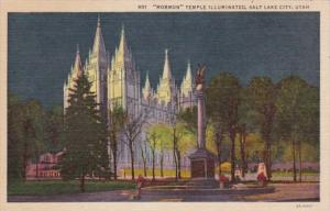 Utah Salt Lake City Mormon Temple Illuminated Curteich