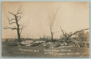 Hanover WI Four Lives Lost as Schmidt Home Smashed to Bits by Tornado~RPPC 1911