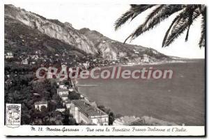 Old Postcard Menton Garavan view towards Frontiere Franco Italian and Italy